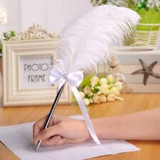 White Ostrich Quill Feather Wedding Guest Book Signing Pen Heart Decoration