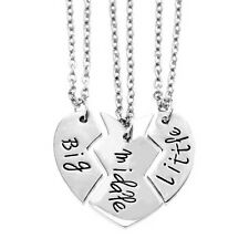 3pcs/set Big Middle Little Stylish Family Member Sister Brother Pendant Necklace