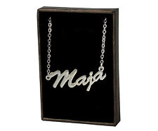 MAJA 18ct White Gold Plating Necklace With Name - Pendant Anniversary Christmas