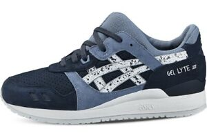 Ladies Asics Gel-Lyte III Indian Ink/White Suede Leather Lace Up Trainers Shoes