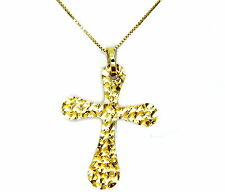 COLLIER OR JAUNE 18KT CROIX PLATE MODE
