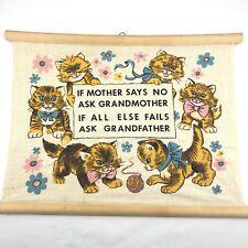 Vintage Barkcloth Wall Hanging Cats Kittens Mid Century Kitsch Folk Art Decor