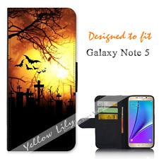 Samsung Galaxy Note 5 Wallet Flip Phone Case Cover Bat Grave Moon Y00751