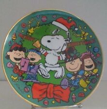 Peanuts Snoopy Merry Christmas Charlie Brown Franklin Mint Plate Hard To Find