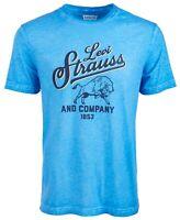 Levi's Mens T-Shirt Blue Size 2XL Classic-Fit Logo Print Bison Graphic Tee 040