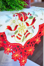 "Square Red Trim Christmas Table Cloth Embroidered Candles, 90cm (36"") FFD022"