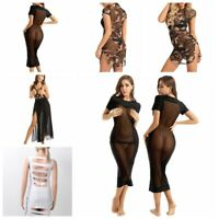 Women's See Through Maxi Dress Chest Harnes Holiday Party Short Sleeves Clubwear