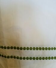 NEW POTTERY BARN PEARL DOT EMBROIDERED GREEN APPLE  WHITE KING BED SKIRT