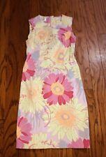 Size 2 Talbots Petites Pink & Green Floral Sheath Dress Back Zip