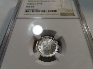 W74 Guatemala 1879 1/2 Real Scroll Type NGC MS-66