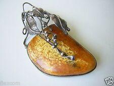Große alte Natur Bernstein Silber Brosche Butterscotch 16,7 g Genuine Amber