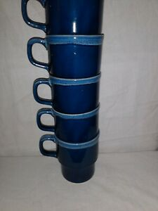 Vintage Coffee Mugs Cups MADE IN JAPAN 5 Stackable Blue with Smoky Edging