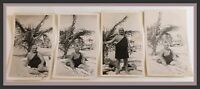Vintage Man On Beach In Swimsuit/Sunbathing-Gay Interest-Lot Of 4 Photos (R654)