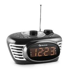RETRO UHREN RADIO WECKER DUAL ALARM SLEEP TIMER UKW PLL AUX LED DISPLAY SCHWARZ