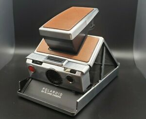 POLAROID SX-70 Chrome Brown Leather Camera with Leather Carrying Case