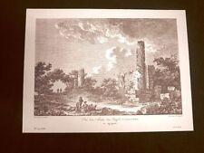 Veduta Tempio di Castore e Polluce ad Agrigento Sicilia Litografia Saint-Non