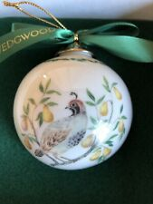 Wedgwood Twelve Days Of Christmas Partridge In A Pear Tree Ball Ornament In Box