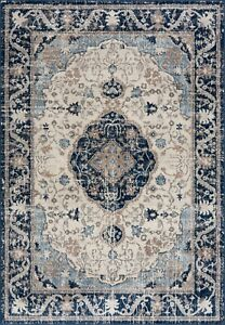 Small Large Cheap Rug Living Room Soft Dense Pile Traditional Design Navy New
