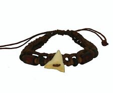 Real Sharks Tooth Lucky Brown Leather Bracelet
