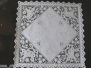 """20 PCS 8"""" INCH WHITE SQUARE DOILY LACE VICTORIAN FLOWER BASKET BOW RETIRED"""