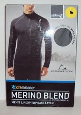 Paradox Men's Dri Release Merino Wool Blend 1/4 Zip Base Layer Top Small Asphalt