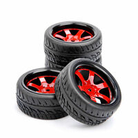 Red Wheel & Scale Rubber Tires 4 X 1/10 For HSP HPI RC On-Road Touring Car