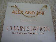 "Alex and Ani 32"" EXPANDABLE CHAIN NECKLACE 14K Gold Plated New W/Tag Card & Box"
