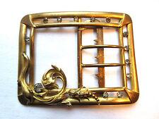 Boucle de ceinture Art Nouveau, pomponne et strass façon diamants, Acanthe