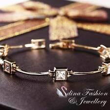18K Yellow Gold Plated Simulated Diamond Five Square Shaped Stick Bracelet