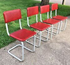 Vintage Set of 4 Retro Deco Kitchen Dinette Chairs Red Gray
