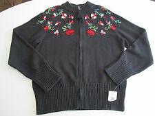 FIRST ISSUE LIZ CLAIBORNE Sweater Women's Sz L Large Black Cardigan Zipper NWT