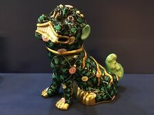 "Herend Figurine- Large Foo Dog 10"" - Black Dynasty SN"
