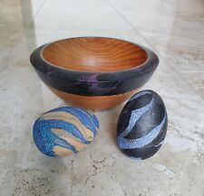 Wood Accent Dish with Two Marble Paint Decorative Wood Eggs Easter Gift Set of 3