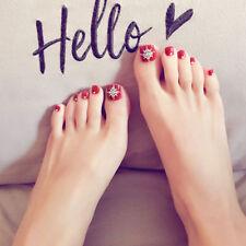 24pcs Red Bling Art Tips Full Cover False Toe Fake Nails Manicure Tool