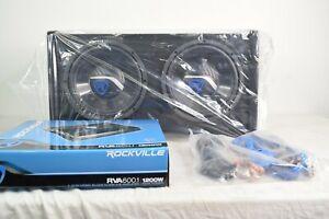 """Rockville RV10.2B 1200w Dual 10"""" Car Subwoofer Enclosure+Mono Amplifier+Amp Kit"""