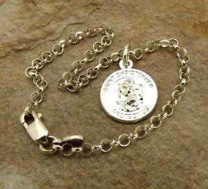 Sterling Silver Saint Christopher Charm on  Sterling Silver Rolo Bracelet - 1088