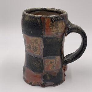 Handmade Pottery Mug Checkboard Design Glazed Coffee Tea | Brown Black