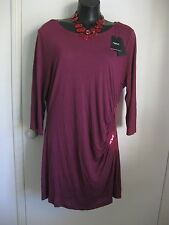 SIZE 18 SMART FLATTERING FUSCHIA SEQUINNED DETAIL TOP, COWL BACK - NEXT