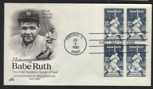1983 Babe Ruth Baseball Chicago Sc 2046 block of 4 ArtCraft cachet