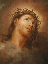 Fine 18/19th Century Old Master Antique Oil Painting Christ With Crown Of Thorns