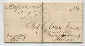 1836 Pittsfield IL manuscript stampless fodled letter [5806.848]