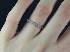 14k oro bianco 0.20ct diamante rotondo anniversario fede nuziale 5.5