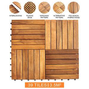 Decking Tiles Interlocking Square Wooden Garden Patio Balcony Deck Floor x 39