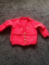 BN Baby Boys 3-6 Months Red Multi Hand Knitted Cadigan