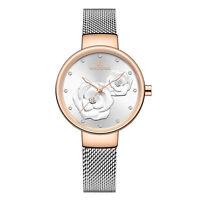 NaviForce Women Stainless Steel Quartz Thin Waterproof Mesh Watch Golden