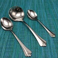 3 Oneida Community ROYAL FLUTE Stainless SPOONS - GRAVY LADLE - SUGAR - SOUP