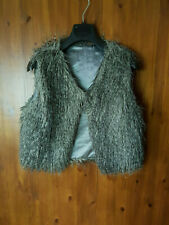 FAUX FUR GILET WINTER BODYWARMER WAISTCOAT Grey UK 12 / 40 - VGC