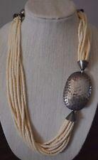 "Vintage Necklace Cream Beige Bone Antiqued Silvertone 10 Strand Resin Tribal 28"""
