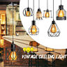 Vintage Metal Industrial Cage Hanging Ceiling Lamp Pendant Light Holder Shade