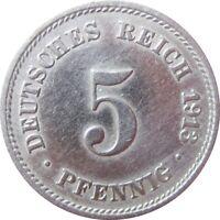 J 12  5 Pfennig Kaiserreich von 1913 J in SS-VZ   666 145